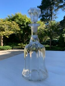 Antique Victorian Bell Shape Pillar Moulded Glass Decanter C1850