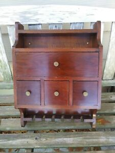 Spice Cabinet 4 Drawers 1 Large Antique Box Cupboard Apothecary Chest Spoon Rack
