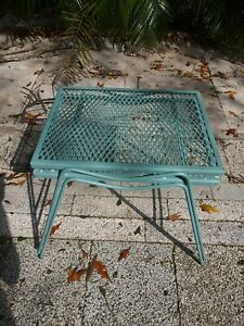Vintage Stacking Iron Metal Patio Porch Tables Set Of 2