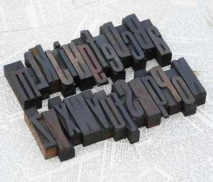 A z Mixed Alphabet 2 44 Letterpress Wooden Printing Blocks Wood Type Vintage