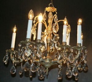 Vintage 5 Arm Light Brass Spanish Chandelier Candelabra W Glass Crystal Prisms