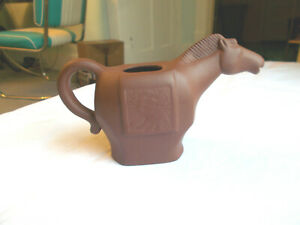 Vintage Signed Yixing Zisha Brown Red Clay Horse Teapot Horse Head Spout No Lid