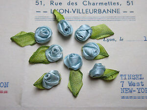 Vintage Antique French Rayon Blue Satin Lingerie Rosebuds Ribbonwork 8pcs