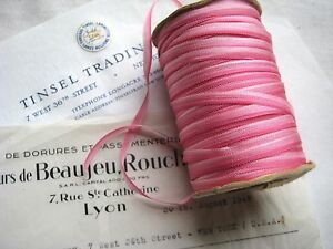 Vintage French Dark Pink Ombre Rayon Ribbon Flowers 3 16 3 Yards Ribbonwork