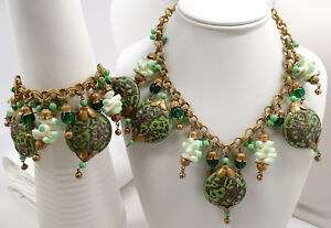 Antique Chinese Export Green Enamel Silver Dragon Bead Necklace Bracelet Set