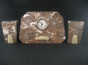 Art Deco Mantel Clock Garniture Set Marble Onyx Wind Up Vintage C1930s England