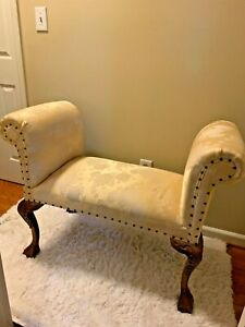 Antique Fainting Chair Boudoir Claw Foot Chaise Sofa Floral Yellow Pattern 32 44