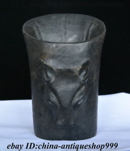 6 Old China Stone Carved Bull Head Official Cap Jade Cong Brush Pot Pencil Vase