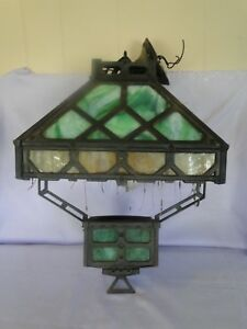 Antique Hanging Iron Stained Glass Gothic Converted Oil Chandelier Light