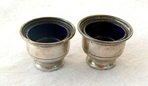 Pair Of Antique Sterling Salts With Cobalt Glass Inserts Sgnd W