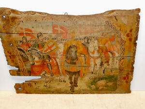 Antique Original 1700s Sicilian Hand Painted Wooden Donkey Cart Remnant Painting