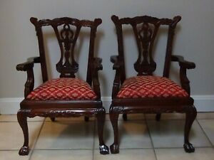 2 Matching Vintage Reproduction Mahogany Wood Chippendale Child Doll Chairs