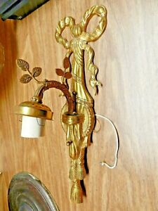 Antique Or Vintage Cast Brass Bow And Tassel Electric Wall Sconce Needs Shade
