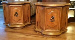 Vintage 1967 Thomasville Pair Of End Tables Country French Collection Solid Oak