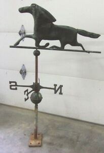 Vintage Hand Forged Copper Horse Weathervane Complete Balls Directionals Sale