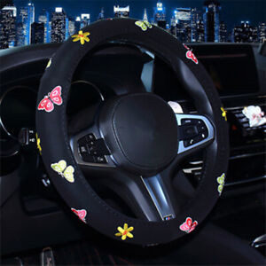 Cute Embroidery Car Steering Wheel Cover Butterfly Steering Cover Wrap Protector