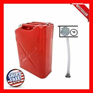 Eu Style Petrol Fuel Diesel Steel Jerry Can 20l 5 Gal Durable Gas Tank Red New