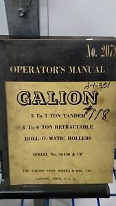 Galion 3 To 5 Ton Tandem Roll o matic Rollers Operator s Manual No 2078