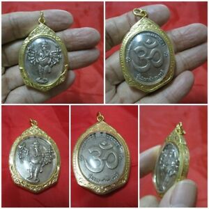 Silver Pendant 2010 Ganesh Hindu 16 Hands In Thai Amulet Gold Case G37