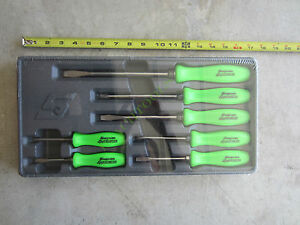 New Snap On Racing Green Hard Handle Combination Screwdriver 7 Pcs Set Sddx70ag
