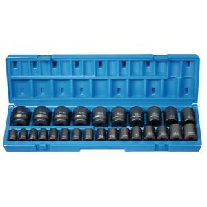 26 Pc 1 2 Drive 12 Point Metric Impact Socket Set Grey Pneumatic Gre1726m