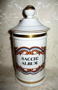French Apothecary Sacch Album Jar Early 1900 S Fine Porcelain 9 3 4 Height