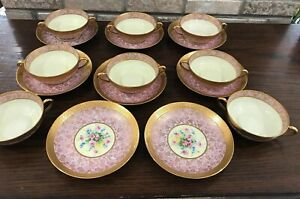 Vintage Set 8 Hand Painted Gold Encrusted Pink Floral Bouillon Cups