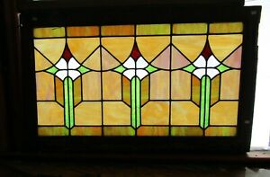 Antique Art Deco Stained Glass Window 25 By 40