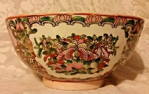 Antique Chinese Famille Rose Mandarin Punch Bowl