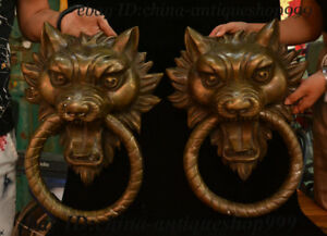 Old China Dynasty Palace Copper Bronze Wolf Beast Head Door Knocker Statue Pairs