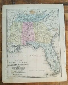 Antique Colored Map Georgia Florida Al Ms Tn 1872 Mitchell S New Geography