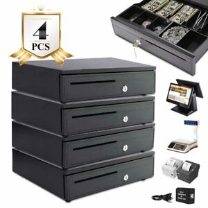 4pcs Cash Drawer Money Box 5 Bill 5 Coin Till Removable Insert Tray Pos Printers
