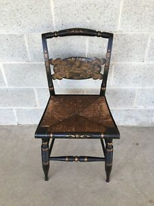 Antique L Hitchcock Rush Bottom Bolster Turtle Back Side Chair