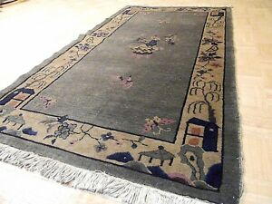 3x6 Chinese Rug Vintage Peking Nichols Authentic Hand Made Oriental Rug 1960s