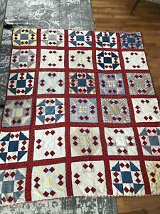 Civil War Era Red White Blue Polka Dots Antique Quilt Vintage Hand Sewn Amazing