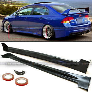 Fit 06 11 Civic 4dr Sedan Unpainted Polyurethane Pu Mu Style Side Skirt Bodykit