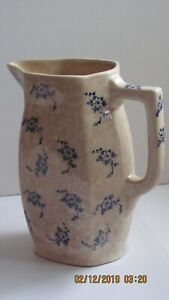 Antique Ironstone Pitcher With Blue Diaper 7 Tall