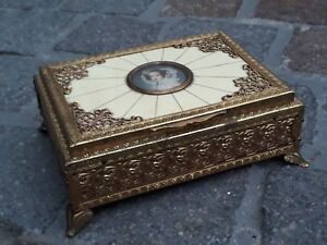 Antique Musical Box Solid Bronze Miniature Portrait Painting French