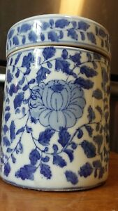 Antique 1800 S Chinese Porcelain 8 Apothecary Jar Tea Caddie Urn Canister