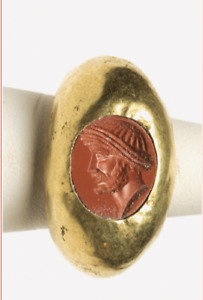 Roman Gold Ring With Jasper Intaglio Ca 3rd 5th Century A D Ancient Jewelry