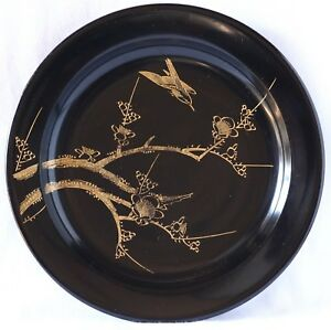 Japanese Old Lacquer Ware Plate Tray Wood Gold Inlaid Plum Bush Warbler Taisho