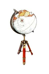 World Globe On Adjustable Wooden Tripod Stand Hand Made Table Desk 20 H