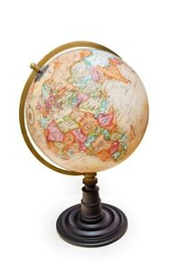 Beautiful World Globe On Wooden One Leg Stand Hand Made Table Desk 15 H