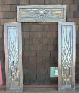 3pc Set Antique American Beveled Glass Transom And Sidelights In Zinc