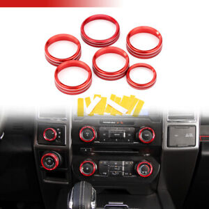 For Ford F150 2016 2018 Red Audio Switch Knob Ring Cover Trim Air Conditioner