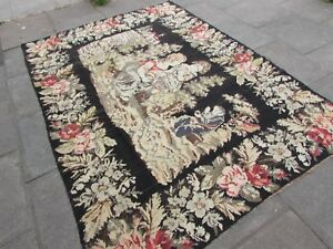 Kilim Old Traditional Hand Made European Pink Black Wool Large Kilim 265x187cm