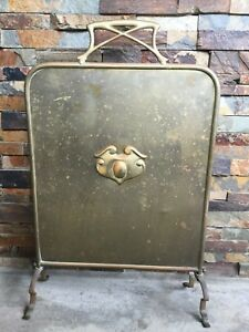 Beautiful Vintage Brass Fireplace Hearth Cover Screen Nice Patina Unique