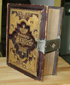 Huge C1885 Antique Family Holy Bible Blank Family Pages Clasp Beautiful