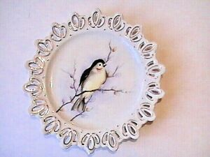 Antique Victorian Porcelain Reticulated Plate Bird Hand Painted Cherry Blossum