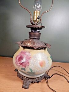 Antique Gwtw Oil Lamp Yellow With Hand Painted Florals Electrified